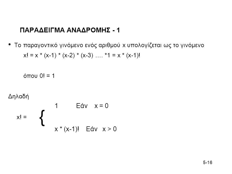 5-16 ΠΑΡΑΔΕΙΓΜΑ ΑΝΑΔΡΟΜΗΣ - 1 Το παραγοντικό γινόμενο ενός αριθμού x υπολογίζεται ως το γινόμενο x! = x * (x-1) * (x-2) * (x-3) …. *1 = x * (x-1)! όπο