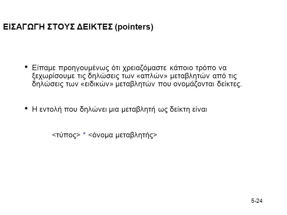 5-24 ΕΙΣΑΓΩΓΗ ΣΤΟΥΣ ΔΕΙΚΤΕΣ (pointers) Είπαμε προηγουμένως ότι χρειαζόμαστε κάποιο τρόπο να ξεχωρίσουμε τις δηλώσεις των «απλών» μεταβλητών από τις δη