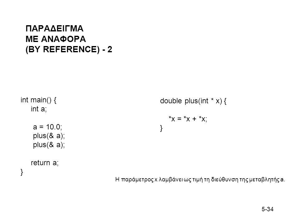 5-34 ΠΑΡΑΔΕΙΓΜΑ ΜΕ ΑΝΑΦΟΡΑ (BY REFERENCE) - 2 int main() { int a; a = 10.0; plus(& a); return a; } double plus(int * x) { *x = *x + *x; } Η παράμετρος