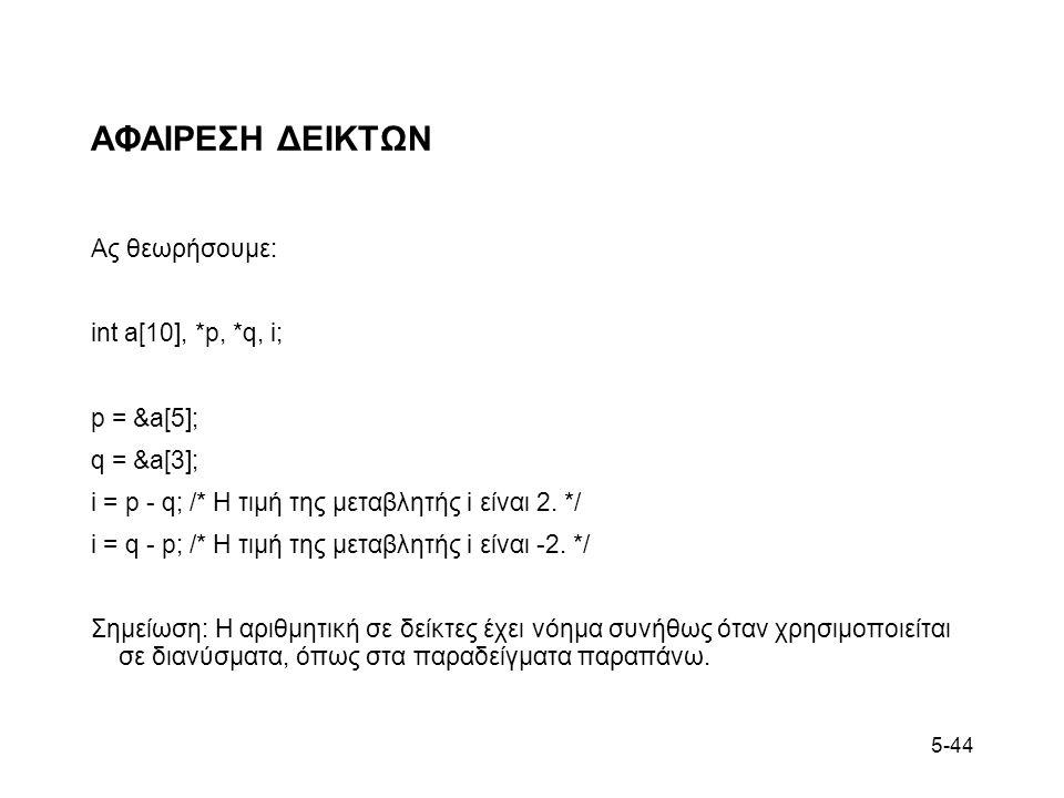 5-44 ΑΦΑΙΡΕΣΗ ΔΕΙΚΤΩΝ Ας θεωρήσουμε: int a[10], *p, *q, i; p = &a[5]; q = &a[3]; i = p - q; /* Η τιμή της μεταβλητής i είναι 2. */ i = q - p; /* Η τιμ