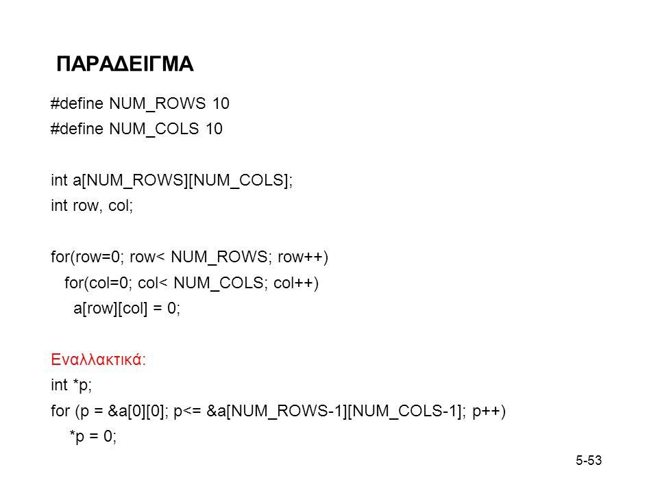 5-53 ΠΑΡΑΔΕΙΓΜΑ #define NUM_ROWS 10 #define NUM_COLS 10 int a[NUM_ROWS][NUM_COLS]; int row, col; for(row=0; row< NUM_ROWS; row++) for(col=0; col< NUM_