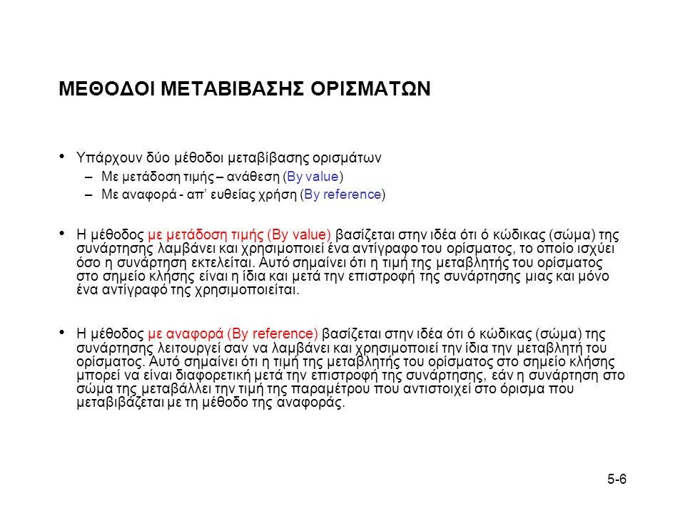 5-6 ΜΕΘΟΔΟΙ ΜΕΤΑΒΙΒΑΣΗΣ ΟΡΙΣΜΑΤΩΝ Υπάρχουν δύο μέθοδοι μεταβίβασης ορισμάτων –Με μετάδοση τιμής – ανάθεση (By value) –Με αναφορά - απ' ευθείας χρήση (