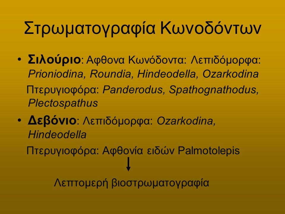 Στρωματογραφία Κωνοδόντων Σιλούριο : Αφθονα Κωνόδοντα: Λεπιδόμορφα: Prioniodina, Roundia, Hindeodella, Ozarkodina Πτερυγιοφόρα: Panderodus, Spathognat