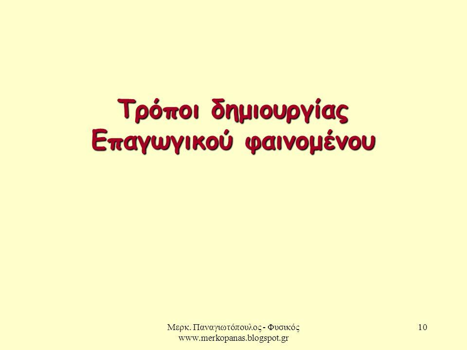 Μερκ. Παναγιωτόπουλος - Φυσικός www.merkopanas.blogspot.gr 10 Τρόποι δημιουργίας Επαγωγικού φαινομένου