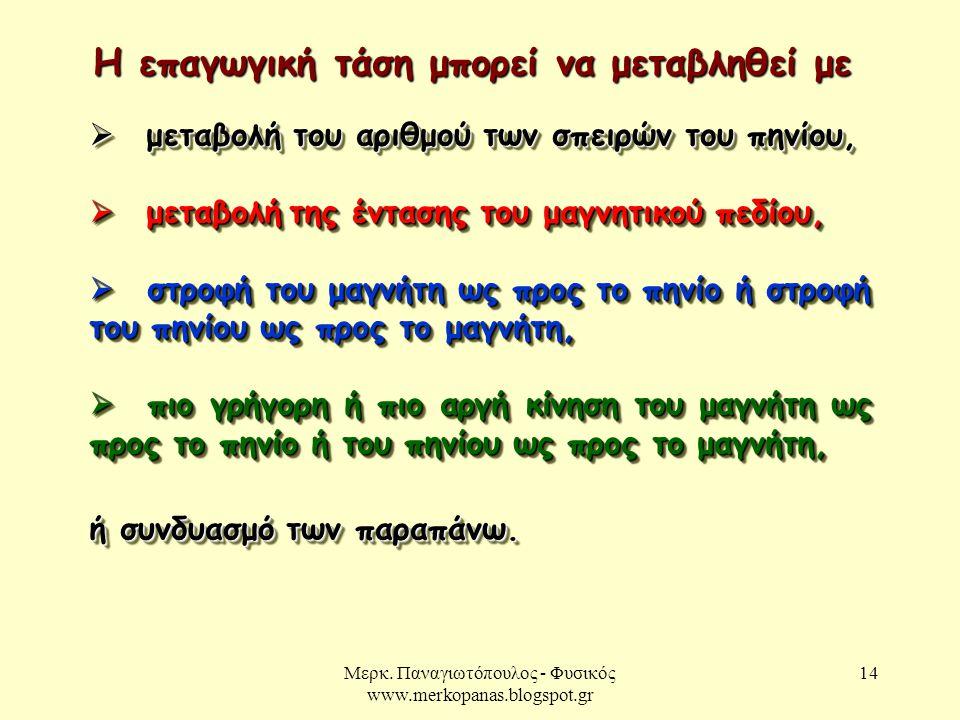 Μερκ. Παναγιωτόπουλος - Φυσικός www.merkopanas.blogspot.gr 14  μεταβολή του αριθμού των σπειρών του πηνίου,  μεταβολή της έντασης του μαγνητικού πεδ