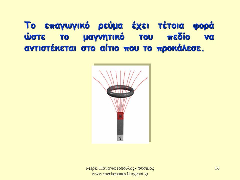 Μερκ. Παναγιωτόπουλος - Φυσικός www.merkopanas.blogspot.gr 16 Το επαγωγικό ρεύμα έχει τέτοια φορά ώστε το μαγνητικό του πεδίο να αντιστέκεται στο αίτι