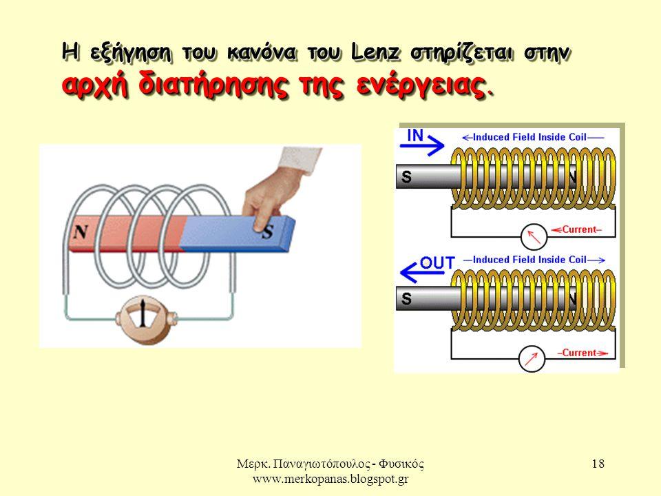Μερκ. Παναγιωτόπουλος - Φυσικός www.merkopanas.blogspot.gr 18 Η εξήγηση του κανόνα του Lenz στηρίζεται στην αρχή διατήρησης της ενέργειας.