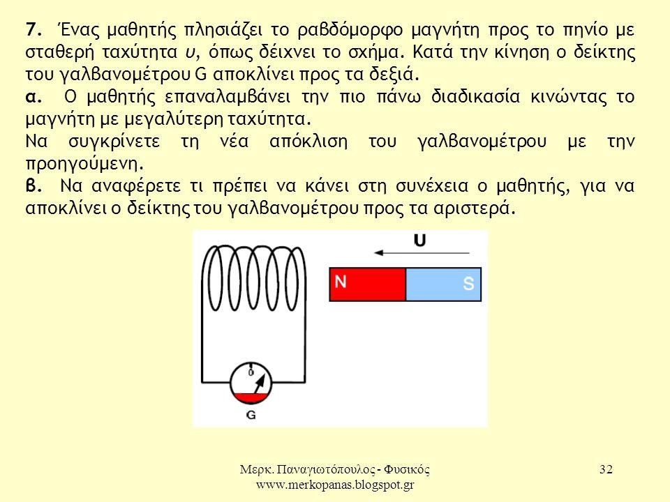 Μερκ. Παναγιωτόπουλος - Φυσικός www.merkopanas.blogspot.gr 32 7. Ένας μαθητής πλησιάζει το ραβδόμορφο μαγνήτη προς το πηνίο με σταθερή ταχύτητα υ, όπω