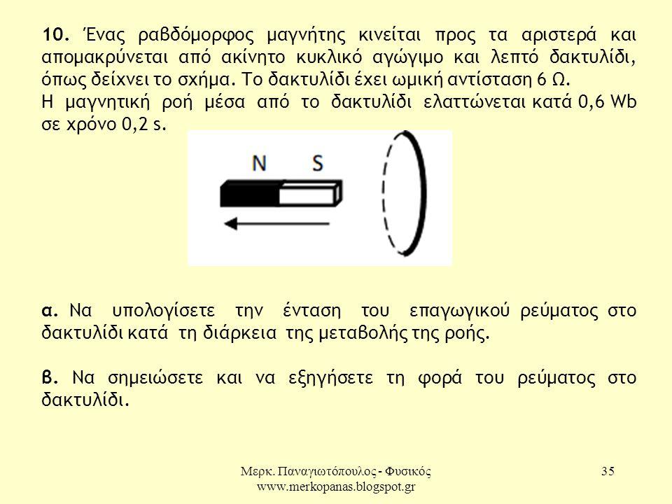 Μερκ. Παναγιωτόπουλος - Φυσικός www.merkopanas.blogspot.gr 35 10. Ένας ραβδόμορφος μαγνήτης κινείται προς τα αριστερά και απομακρύνεται από ακίνητο κυ