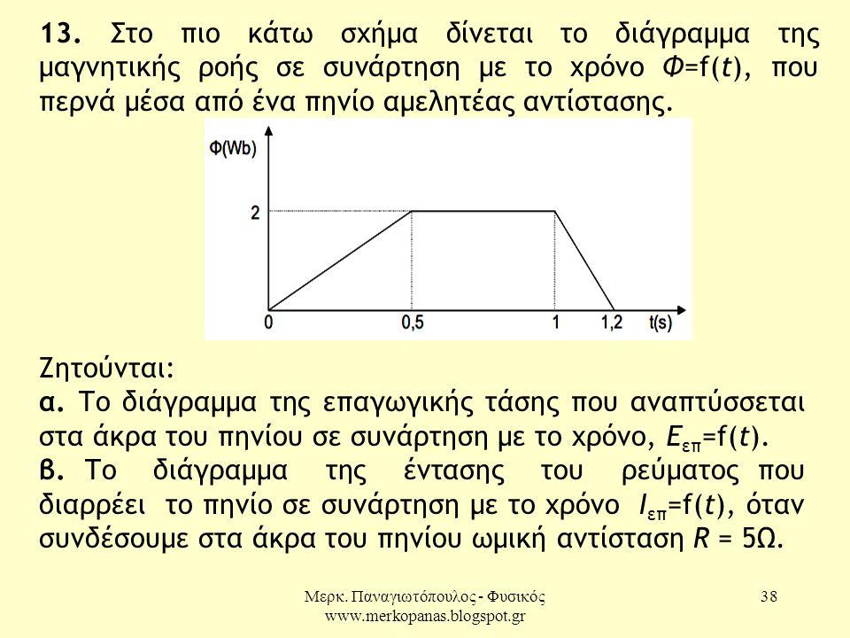 Μερκ. Παναγιωτόπουλος - Φυσικός www.merkopanas.blogspot.gr 38 13. Στο πιο κάτω σχήμα δίνεται το διάγραμμα της μαγνητικής ροής σε συνάρτηση με το χρόνο