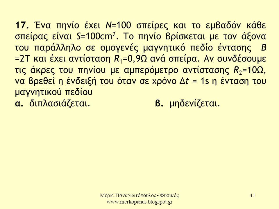 Μερκ. Παναγιωτόπουλος - Φυσικός www.merkopanas.blogspot.gr 41 17. Ένα πηνίο έχει Ν=100 σπείρες και το εμβαδόν κάθε σπείρας είναι S=100cm 2. Το πηνίο β