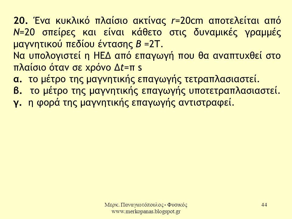 Μερκ. Παναγιωτόπουλος - Φυσικός www.merkopanas.blogspot.gr 44 20. Ένα κυκλικό πλαίσιο ακτίνας r=20cm αποτελείται από Ν=20 σπείρες και είναι κάθετο στι