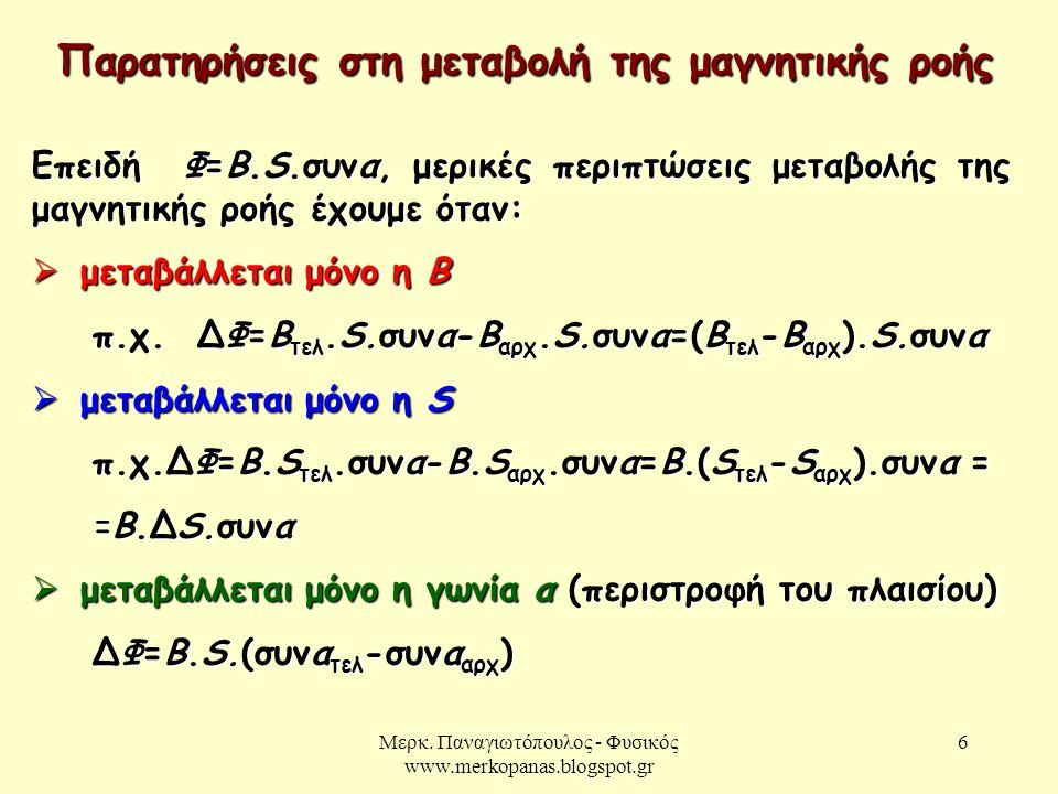 Μερκ. Παναγιωτόπουλος - Φυσικός www.merkopanas.blogspot.gr 6 Παρατηρήσεις στη μεταβολή της μαγνητικής ροής Επειδή Φ=Β.S.συνα, μερικές περιπτώσεις μετα