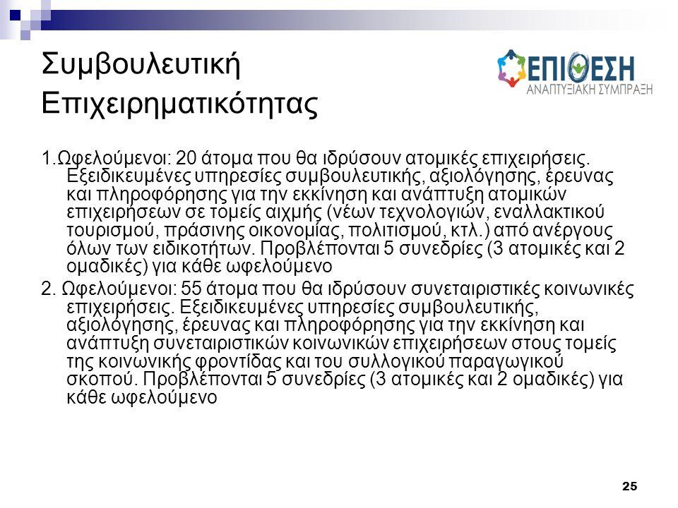 25 Συμβουλευτική Επιχειρηματικότητας 1.Ωφελούμενοι: 20 άτομα που θα ιδρύσουν ατομικές επιχειρήσεις. Εξειδικευμένες υπηρεσίες συμβουλευτικής, αξιολόγησ