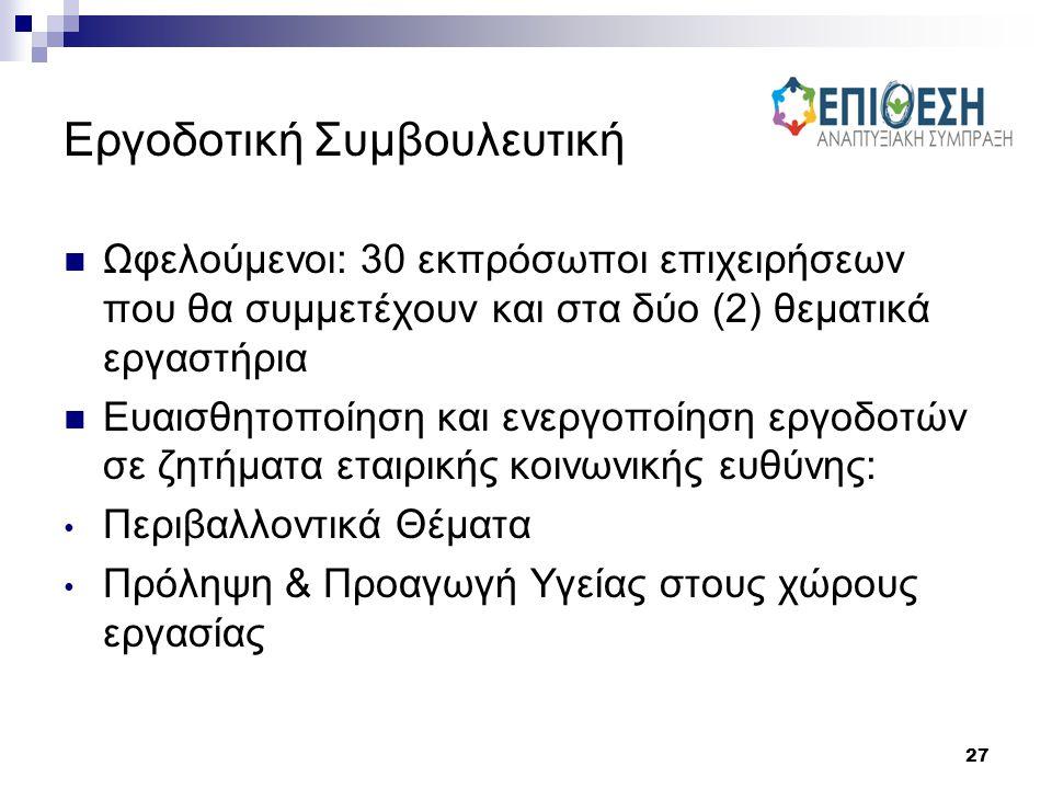 27 Εργοδοτική Συμβουλευτική Ωφελούμενοι: 30 εκπρόσωποι επιχειρήσεων που θα συμμετέχουν και στα δύο (2) θεματικά εργαστήρια Ευαισθητοποίηση και ενεργοπ