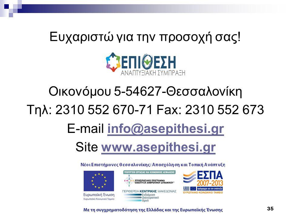 35 Ευχαριστώ για την προσοχή σας! Οικονόμου 5-54627-Θεσσαλονίκη Τηλ: 2310 552 670-71 Fax: 2310 552 673 E-mail info@asepithesi.grinfo@asepithesi.gr Sit