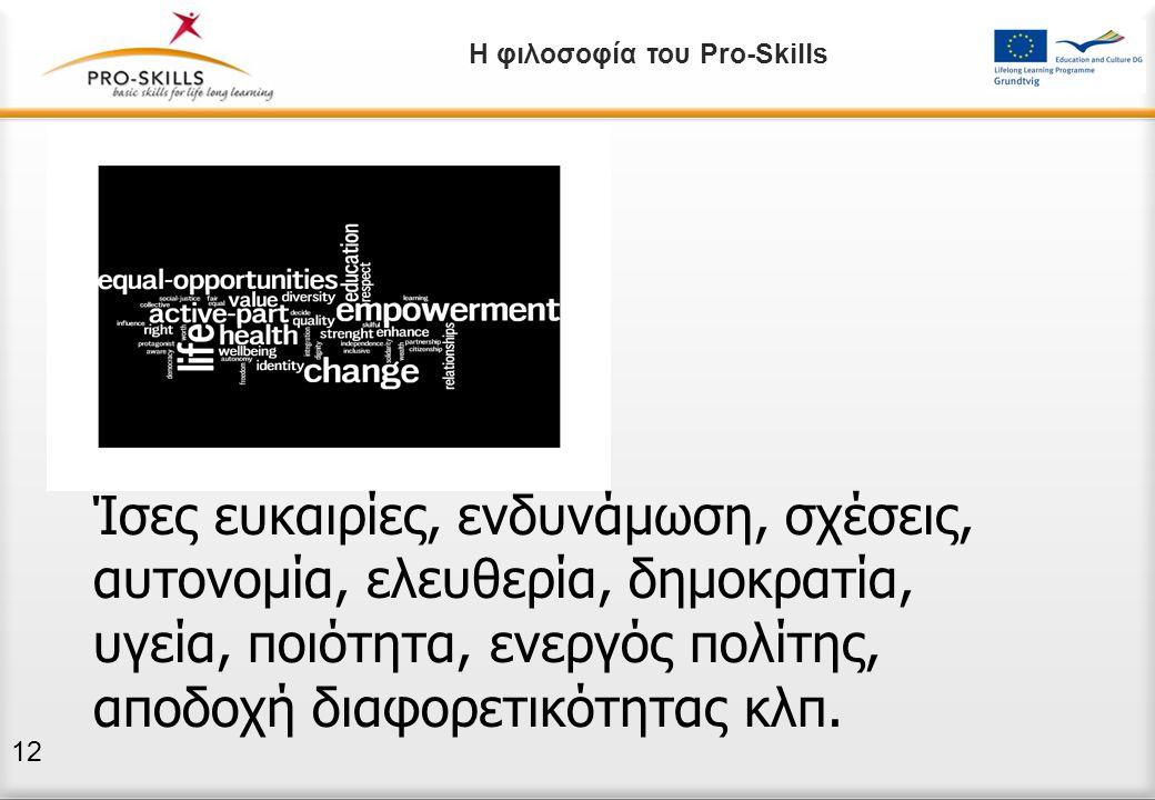 Η φιλοσοφία του Pro-Skills Ίσες ευκαιρίες, ενδυνάμωση, σχέσεις, αυτονομία, ελευθερία, δημοκρατία, υγεία, ποιότητα, ενεργός πολίτης, αποδοχή διαφορετικ