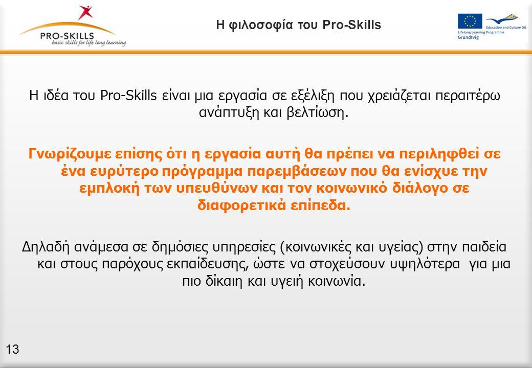 Η ιδέα του Pro-Skills είναι μια εργασία σε εξέλιξη που χρειάζεται περαιτέρω ανάπτυξη και βελτίωση. Γνωρίζουμε επίσης ότι η εργασία αυτή θα πρέπει να π