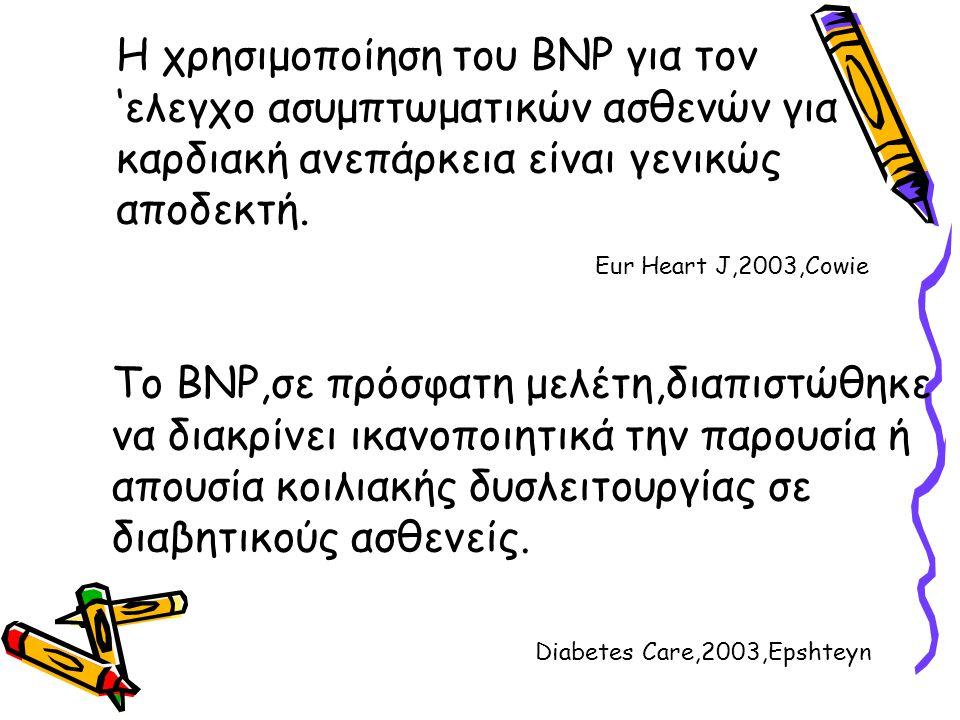 Η χρησιμοποίηση του BNP για τον 'ελεγχο ασυμπτωματικών ασθενών για καρδιακή ανεπάρκεια είναι γενικώς αποδεκτή. Το BNP,σε πρόσφατη μελέτη,διαπιστώθηκε
