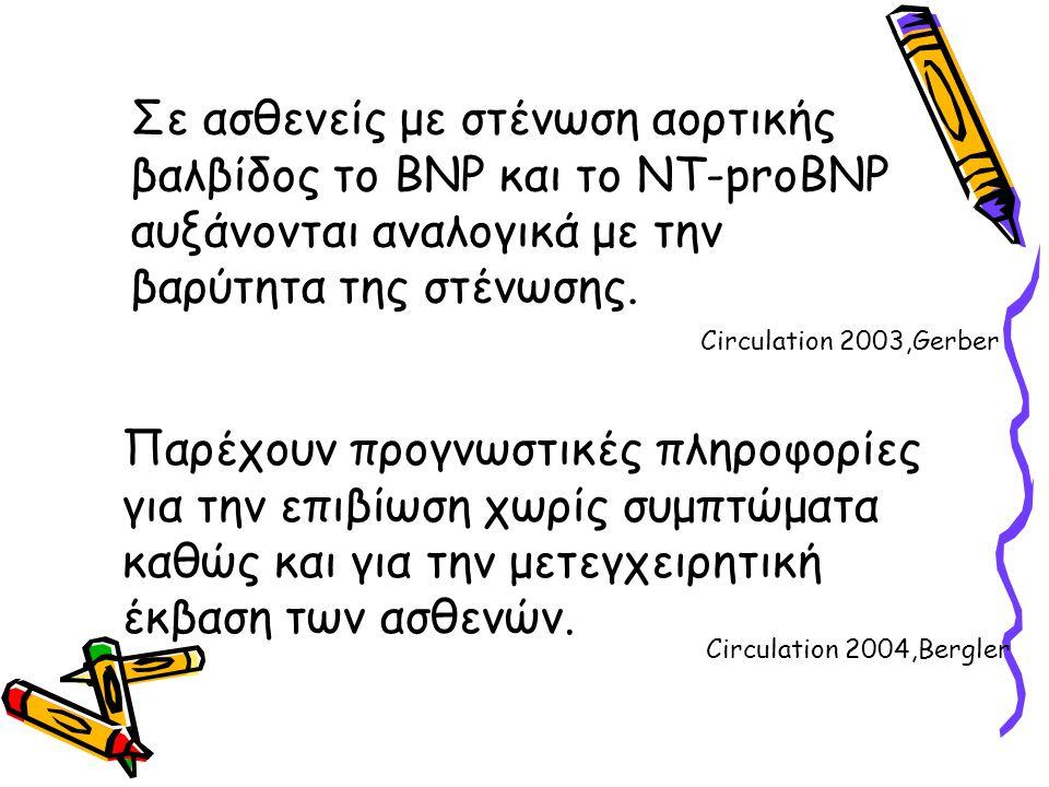 Σε ασθενείς με στένωση αορτικής βαλβίδος το BNP και το NT-proBNP αυξάνονται αναλογικά με την βαρύτητα της στένωσης. Παρέχουν προγνωστικές πληροφορίες