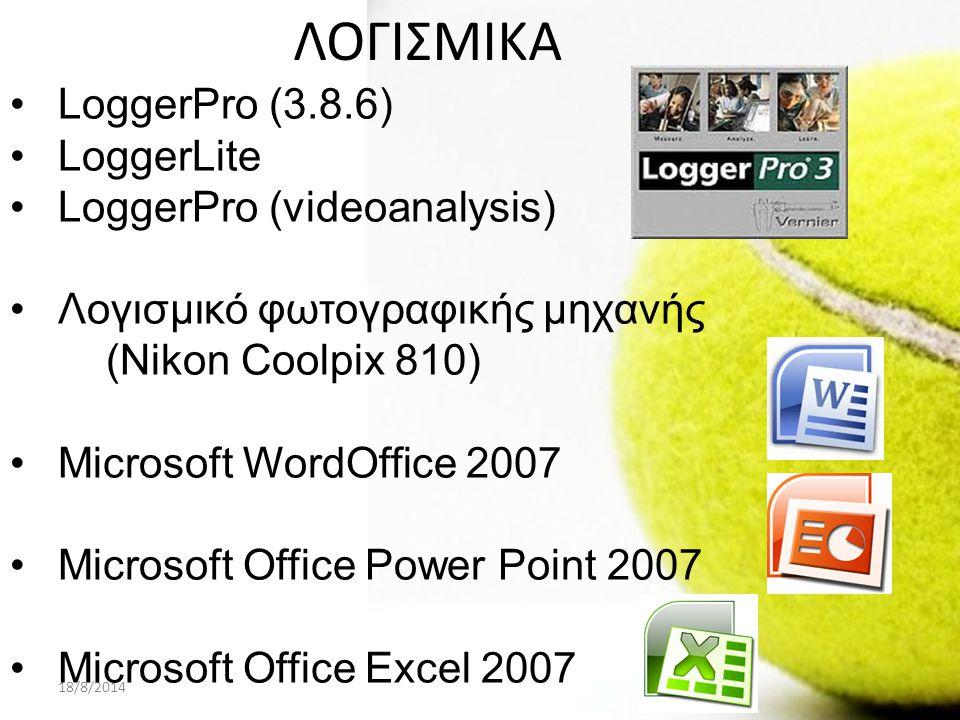 18/8/2014ΠΑΡΟΥΣΙΑΣΗ PROJECT A ΛΥΚΕΙΟΥ15 ΛΟΓΙΣΜΙΚΑ LoggerPro (3.8.6) LoggerLite LoggerPro (videoanalysis) Λογισμικό φωτογραφικής μηχανής (Nikon Coolpix 810) Microsoft WordOffice 2007 Microsoft Office Power Point 2007 Microsoft Office Excel 2007