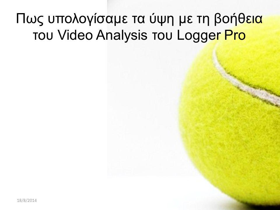 18/8/2014ΠΑΡΟΥΣΙΑΣΗ PROJECT A ΛΥΚΕΙΟΥ23 Πως υπολογίσαμε τα ύψη με τη βοήθεια του Video Analysis του Logger Pro