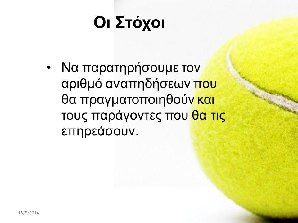 18/8/2014ΠΑΡΟΥΣΙΑΣΗ PROJECT A ΛΥΚΕΙΟΥ35 Για τον υπολογισμό του όγκου (V) κάθε μπάλας του τέννις χρησιμοποιήσαμε τον τύπο: (ρ: η ακτίνα της μπάλας του τέννις )