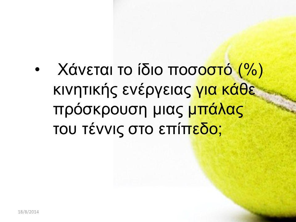 18/8/2014ΠΑΡΟΥΣΙΑΣΗ PROJECT A ΛΥΚΕΙΟΥ9 Χάνεται το ίδιο ποσοστό (%) κινητικής ενέργειας για κάθε πρόσκρουση μιας μπάλας του τέννις στο επίπεδο;