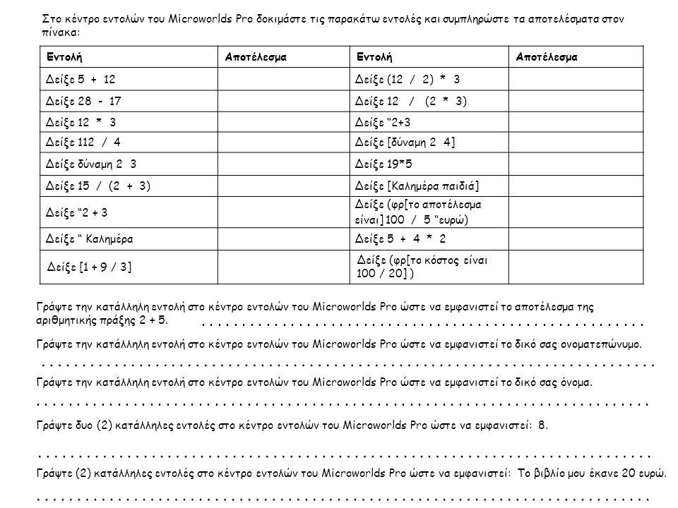 Στο κέντρο εντολών του Microworlds Pro δοκιμάστε τις παρακάτω εντολές και συμπληρώστε τα αποτελέσματα στον πίνακα: ΕντολήΑποτέλεσμαΕντολήΑποτέλεσμα Δε