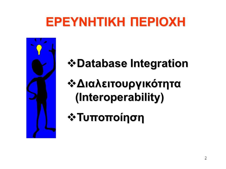 2 ΕΡΕΥΝΗΤΙΚΗ ΠΕΡΙΟΧΗ ΕΡΕΥΝΗΤΙΚΗ ΠΕΡΙΟΧΗ  Database Integration  Διαλειτουργικότητα (Interoperability)  Τυποποίηση