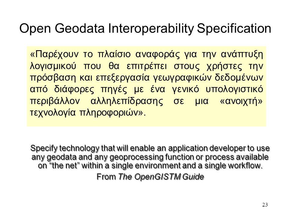 23 Open Geodata Interoperability Specification «Παρέχουν το πλαίσιο αναφοράς για την ανάπτυξη λογισμικού που θα επιτρέπει στους χρήστες την πρόσβαση και επεξεργασία γεωγραφικών δεδομένων από διάφορες πηγές με ένα γενικό υπολογιστικό περιβάλλον αλληλεπίδρασης σε μια «ανοιχτή» τεχνολογία πληροφοριών».