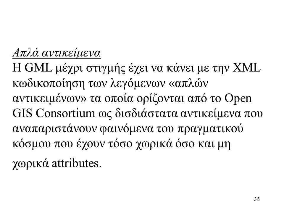 38 Απλά αντικείμενα Η GML μέχρι στιγμής έχει να κάνει με την XML κωδικοποίηση των λεγόμενων «απλών αντικειμένων» τα οποία ορίζονται από το Open GIS Consortium ως δισδιάστατα αντικείμενα που αναπαριστάνουν φαινόμενα του πραγματικού κόσμου που έχουν τόσο χωρικά όσο και μη χωρικά attributes.