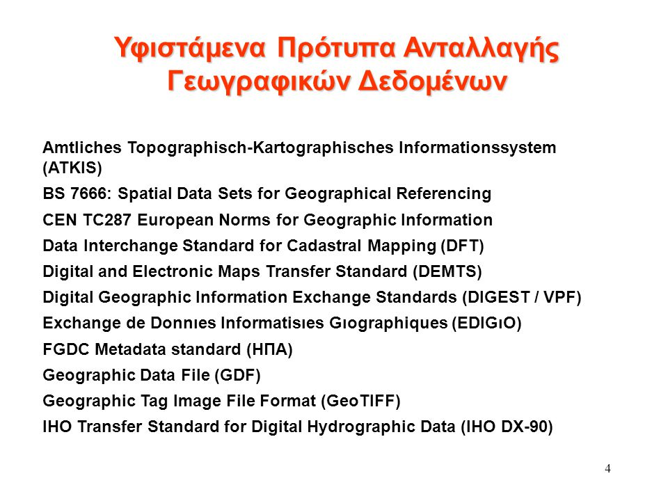 4 Amtliches Topographisch-Kartographisches Informationssystem (ATKIS) BS 7666: Spatial Data Sets for Geographical Referencing CEN TC287 European Norms