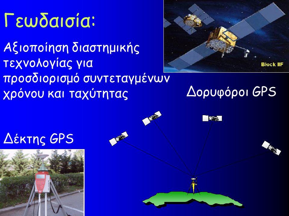 Γεωδαισία: Αξιοποίηση διαστημικής τεχνολογίας για προσδιορισμό συντεταγμένων χρόνου και ταχύτητας Δορυφόροι GPS Δέκτης GPS