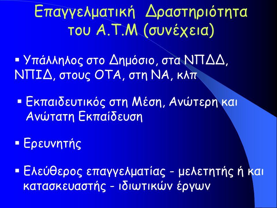 Επαγγελματική Δραστηριότητα του A.T.M (συνέχεια)  Υπάλληλος στο Δημόσιο, στα ΝΠΔΔ, ΝΠΙΔ, στους ΟΤΑ, στη ΝΑ, κλπ  Εκπαιδευτικός στη Μέση, Ανώτερη και