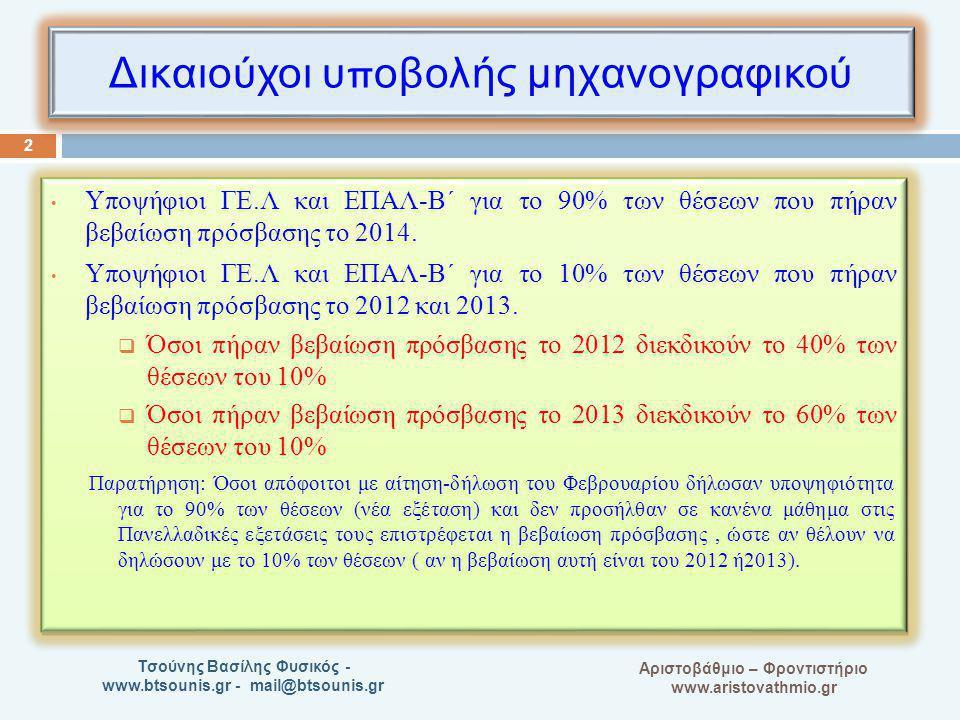 A Αριστοβάθμιο – Φροντιστήριο www.aristovathmio.gr Τσούνης Βασίλης Φυσικός - www.btsounis.gr - mail@btsounis.gr Δικαιούχοι υ π οβολής μηχανογραφικού Υ