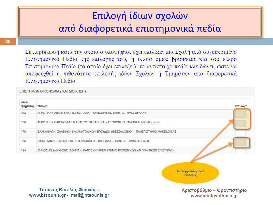 A Αριστοβάθμιο – Φροντιστήριο www.aristovathmio.gr Τσούνης Βασίλης Φυσικός - www.btsounis.gr - mail@btsounis.gr Ε π ιλογή ίδιων σχολών α π ό διαφορετι