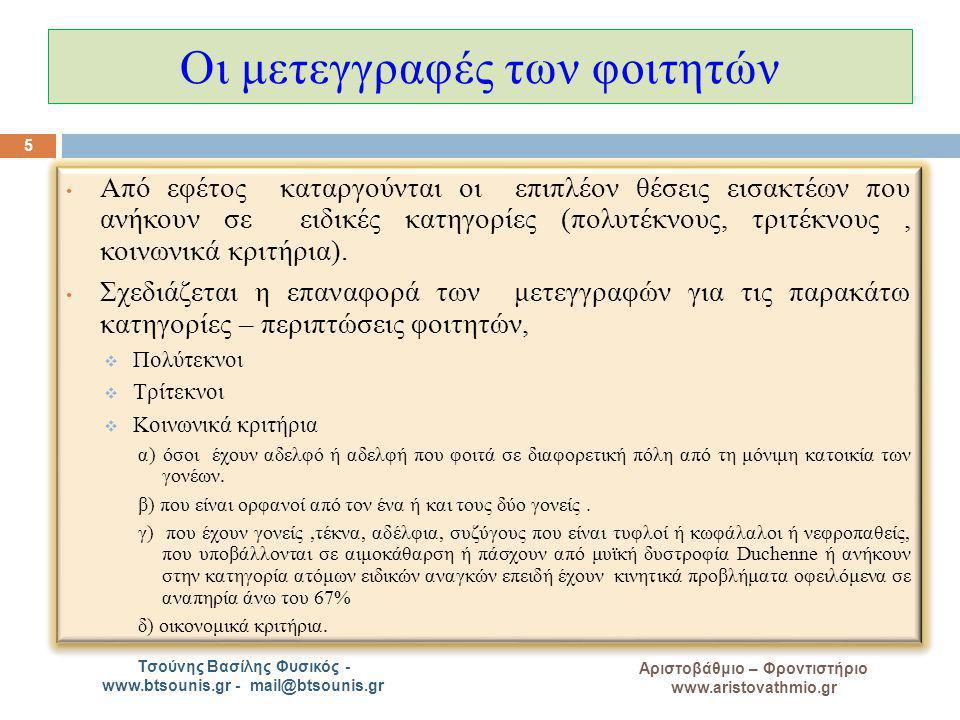 A Αριστοβάθμιο – Φροντιστήριο www.aristovathmio.gr Τσούνης Βασίλης Φυσικός - www.btsounis.gr - mail@btsounis.gr Οι μετεγγραφές των φοιτητών Από εφέτος