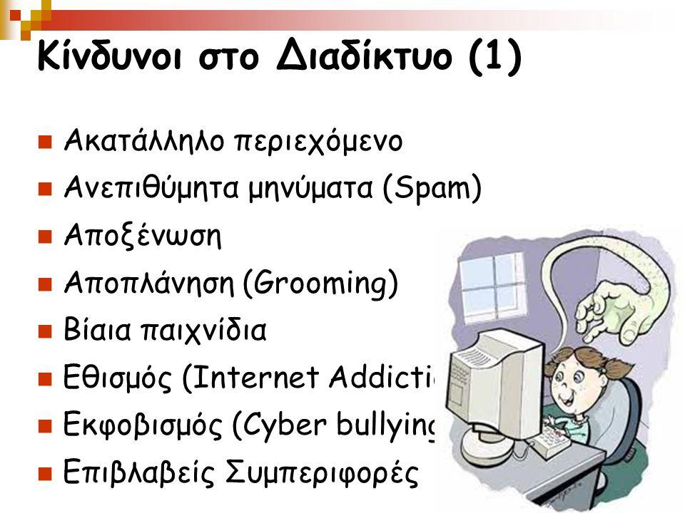 Κίνδυνοι στο Διαδίκτυο (1) Ακατάλληλο περιεχόμενο Ανεπιθύμητα μηνύματα (Spam) Αποξένωση Αποπλάνηση (Grooming) Βίαια παιχνίδια Εθισμός (Internet Addiction) Εκφοβισμός (Cyber bullying) Επιβλαβείς Συμπεριφορές