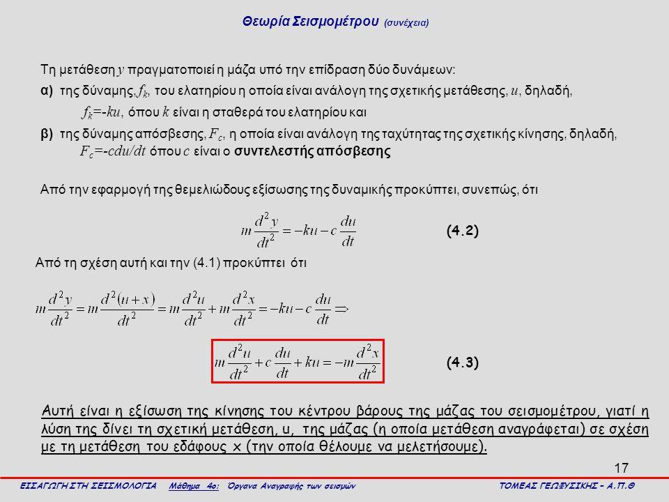 17 Τη μετάθεση y πραγματοποιεί η μάζα υπό την επίδραση δύο δυνάμεων: α) της δύναμης, f k, του ελατηρίου η οποία είναι ανάλογη της σχετικής μετάθεσης,