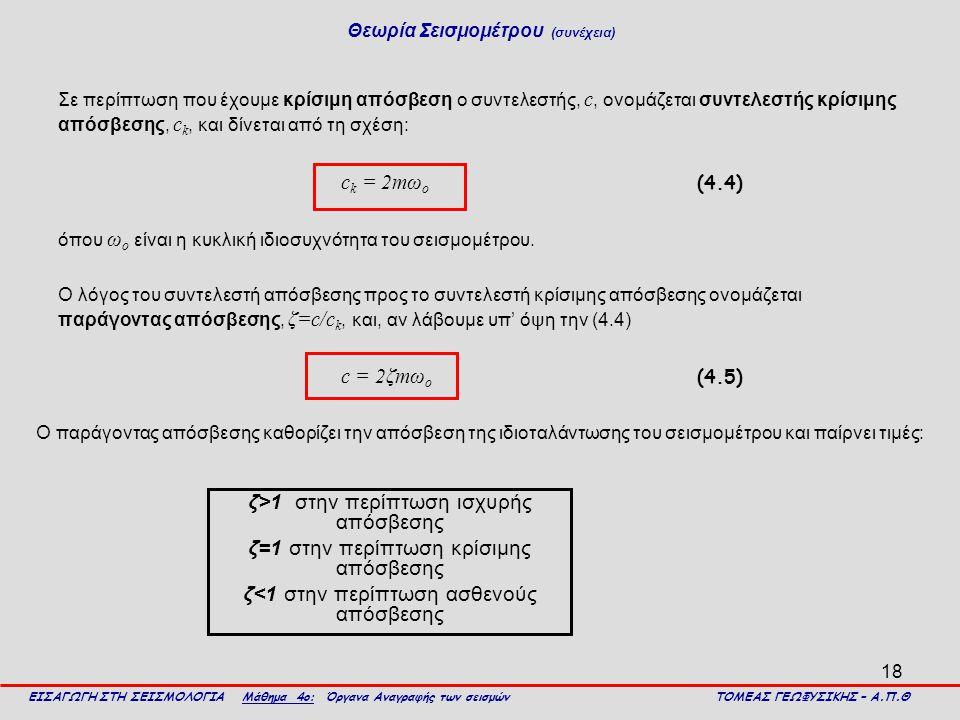 18 Σε περίπτωση που έχουμε κρίσιμη απόσβεση ο συντελεστής, c, ονομάζεται συντελεστής κρίσιμης απόσβεσης, c k, και δίνεται από τη σχέση: c k = 2mω ο (4