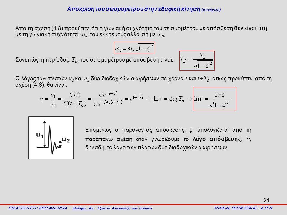 21 Από τη σχέση (4.8) προκύπτει ότι η γωνιακή συχνότητα του σεισμομέτρου με απόσβεση δεν είναι ίση με τη γωνιακή συχνότητα, ω ο, του εκκρεμούς αλλά ίσ