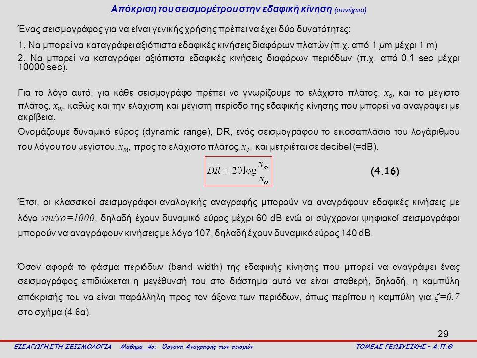 29 Απόκριση του σεισμομέτρου στην εδαφική κίνηση (συνέχεια) Ένας σεισμογράφος για να είναι γενικής χρήσης πρέπει να έχει δύο δυνατότητες: 1. Να μπορεί