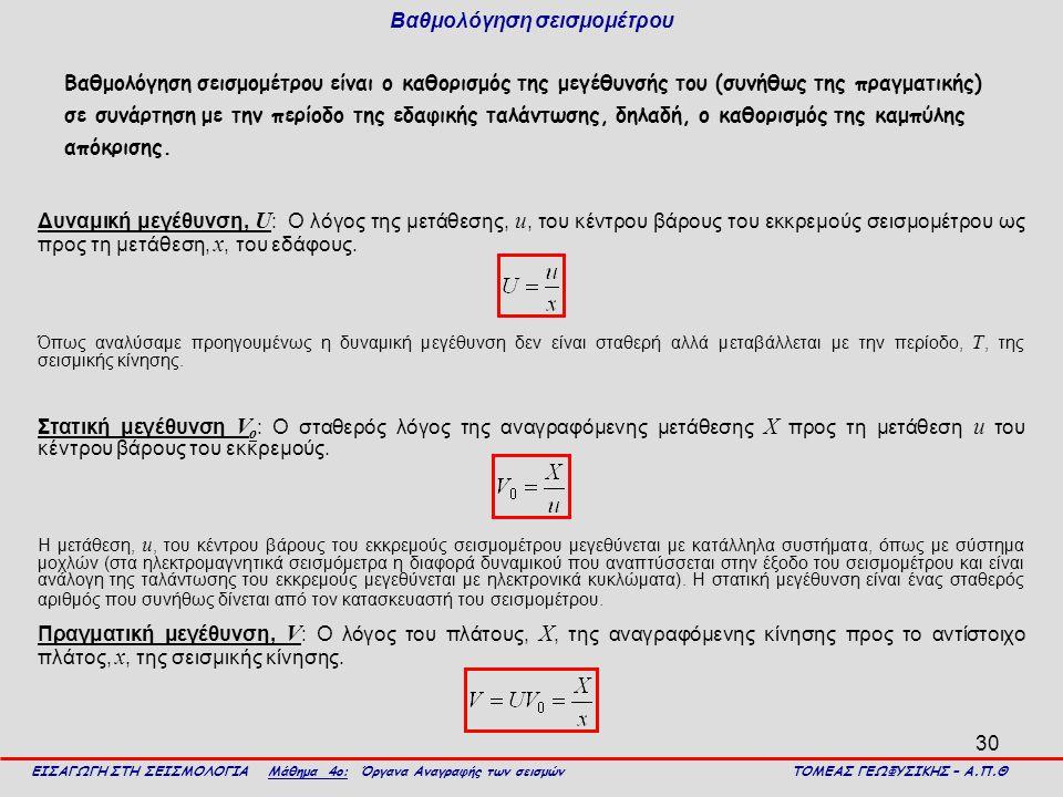 30 Βαθμολόγηση σεισμομέτρου Βαθμολόγηση σεισμομέτρου είναι ο καθορισμός της μεγέθυνσής του (συνήθως της πραγματικής) σε συνάρτηση με την περίοδο της ε