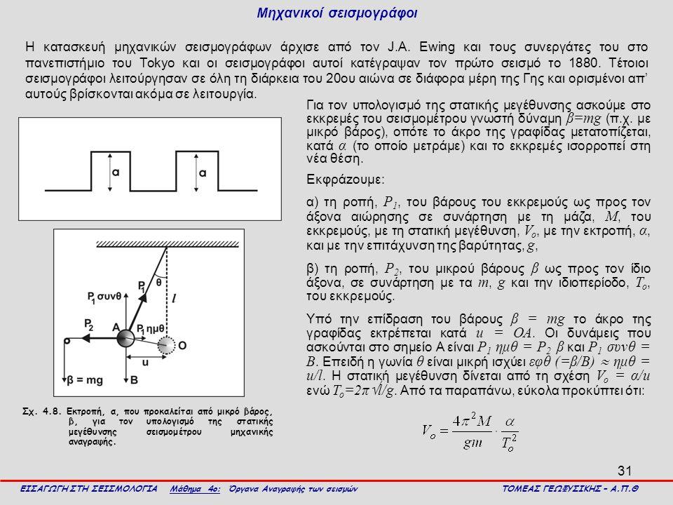 31 Μηχανικοί σεισμογράφοι Η κατασκευή μηχανικών σεισμογράφων άρχισε από τον J.A. Ewing και τους συνεργάτες του στο πανεπιστήμιο του Tokyo και οι σεισμ