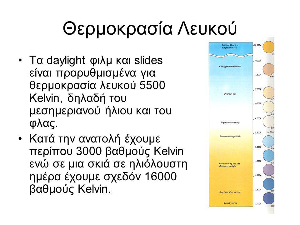 Θερμοκρασία Λευκού Τα daylight φιλμ και slides είναι προρυθμισμένα για θερμοκρασία λευκού 5500 Kelvin, δηλαδή του μεσημεριανού ήλιου και του φλας. Κατ