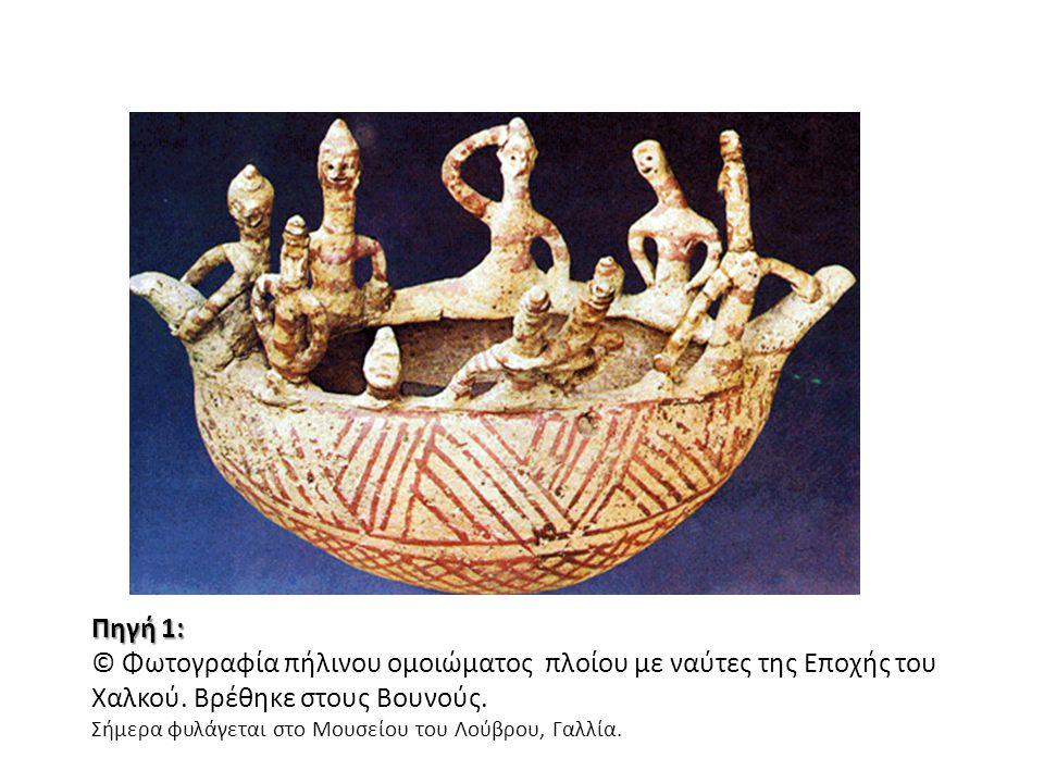 Πηγή 1: © Φωτογραφία πήλινου ομοιώματος πλοίου με ναύτες της Εποχής του Χαλκού. Βρέθηκε στους Βουνούς. Σήμερα φυλάγεται στο Μουσείου του Λούβρου, Γαλλ
