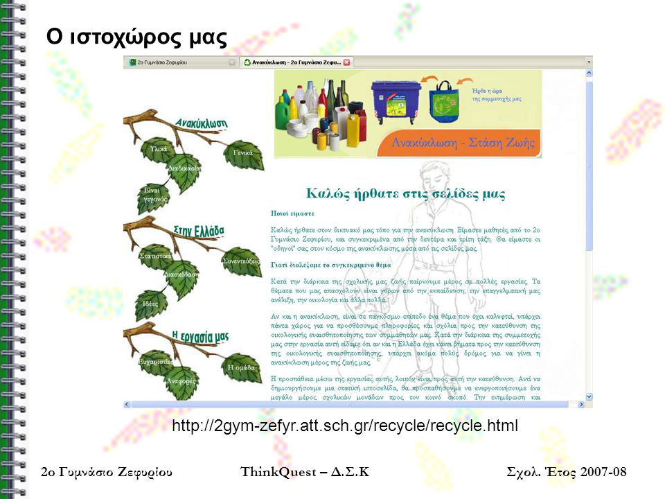 http://2gym-zefyr.att.sch.gr/recycle/recycle.html Ο ιστοχώρος μας 2o Γυμνάσιο ΖεφυρίουThinkQuest – Δ.Σ.ΚΣχολ. Έτος 2007-08