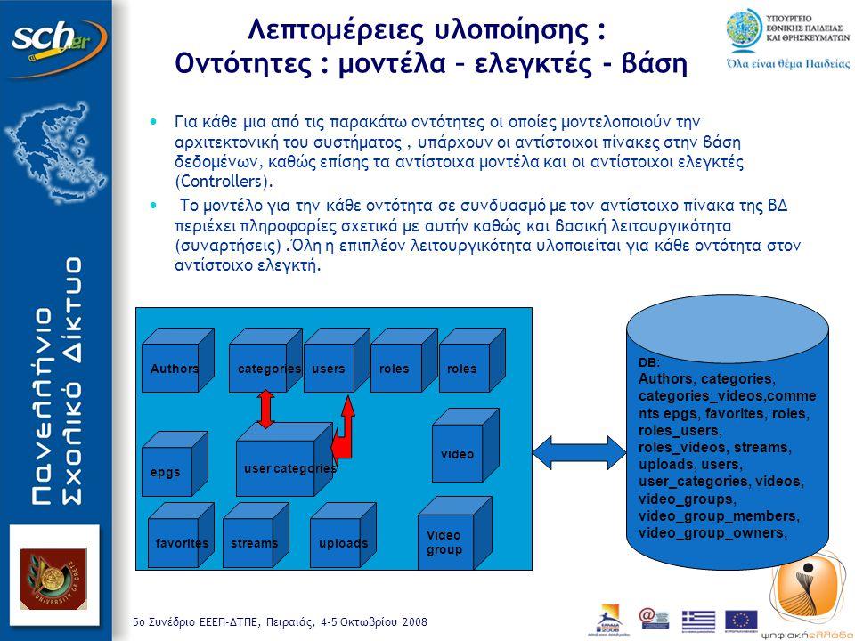 5o Συνέδριο ΕΕΕΠ-ΔΤΠΕ, Πειραιάς, 4-5 Οκτωβρίου 2008 Λεπτομέρειες υλοποίησης : Οντότητες : μοντέλα – ελεγκτές - βάση Για κάθε μια από τις παρακάτω οντότητες οι οποίες μοντελοποιούν την αρχιτεκτονική του συστήματος, υπάρχουν οι αντίστοιχοι πίνακες στην βάση δεδομένων, καθώς επίσης τα αντίστοιχα μοντέλα και οι αντίστοιχοι ελεγκτές (Controllers).