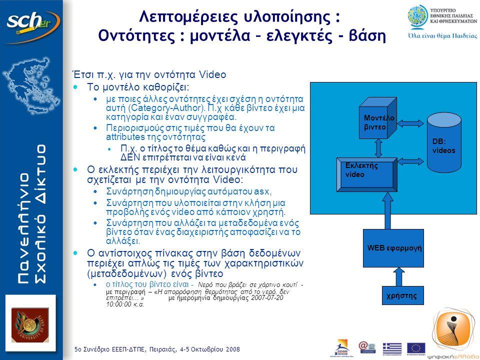 5o Συνέδριο ΕΕΕΠ-ΔΤΠΕ, Πειραιάς, 4-5 Οκτωβρίου 2008 Λεπτομέρειες υλοποίησης : Οντότητες : μοντέλα – ελεγκτές - βάση Έτσι π.χ.